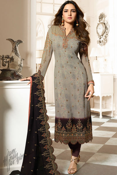 Gray Faux Georgette Straight Suit