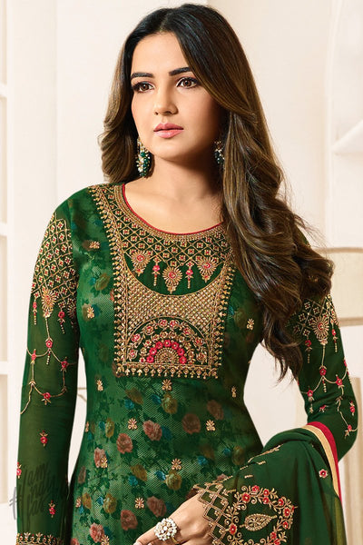 Green Faux Georgette Straight Suit