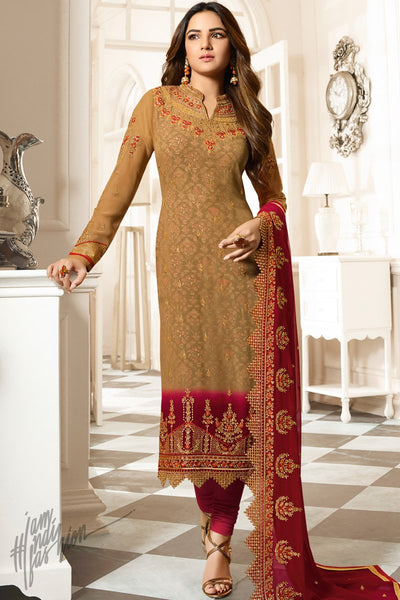 Caramel Brown and Red Faux Georgette Straight Suit