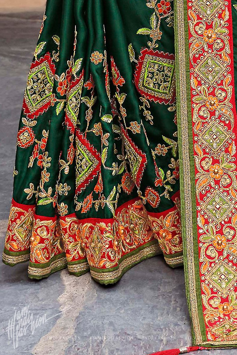 Forest Green and Red Satin Silk Embroidered Saree