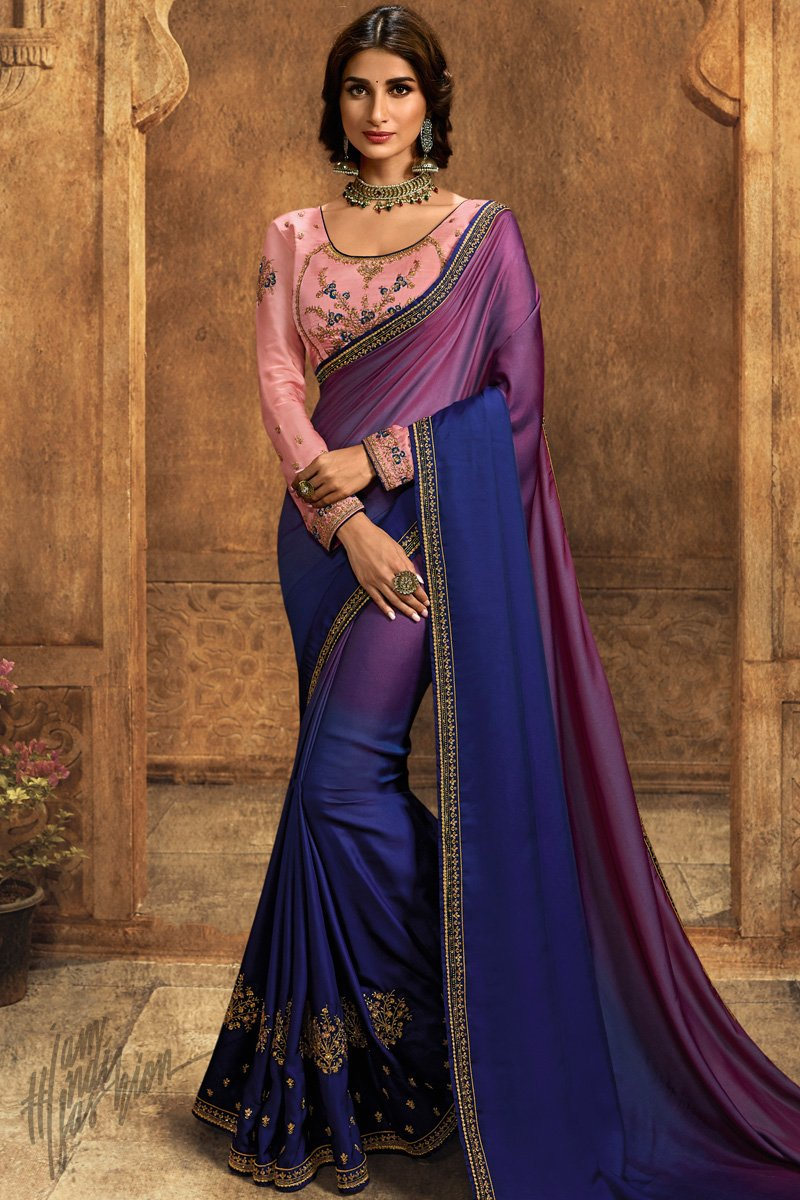 Shaded Blue and Baby Pink Barfi Silk Saree