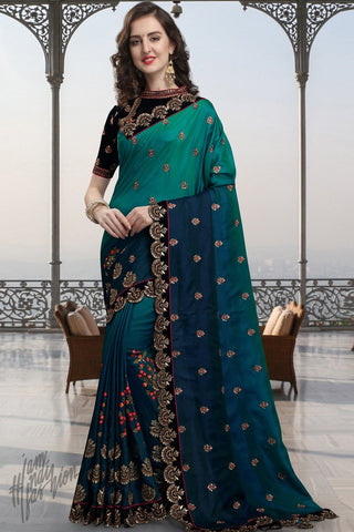 Green and Navy Blue Silk Saree