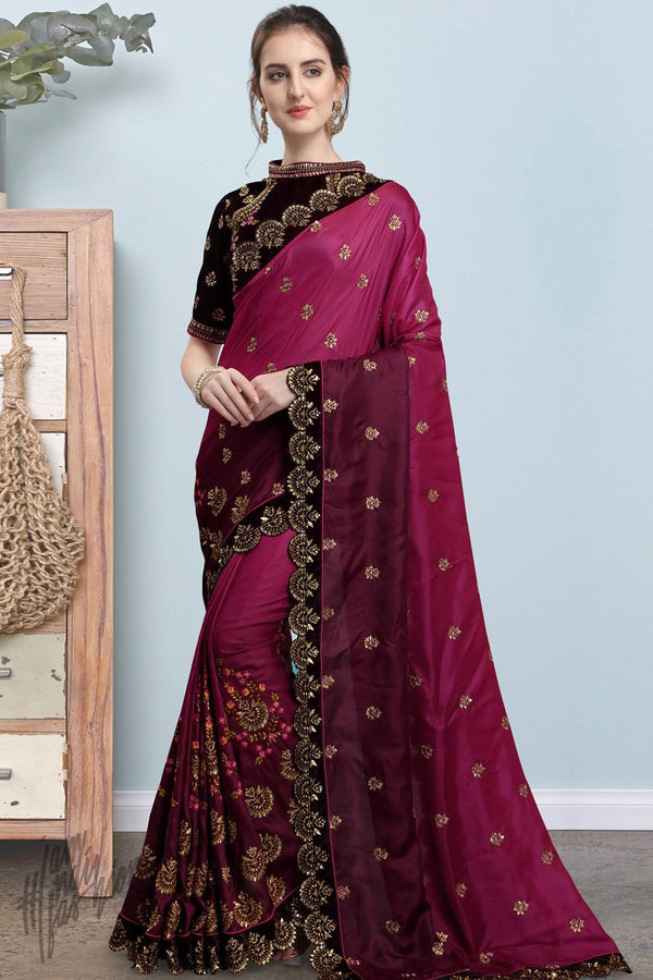 Jam Purple and Wine Silk Saree