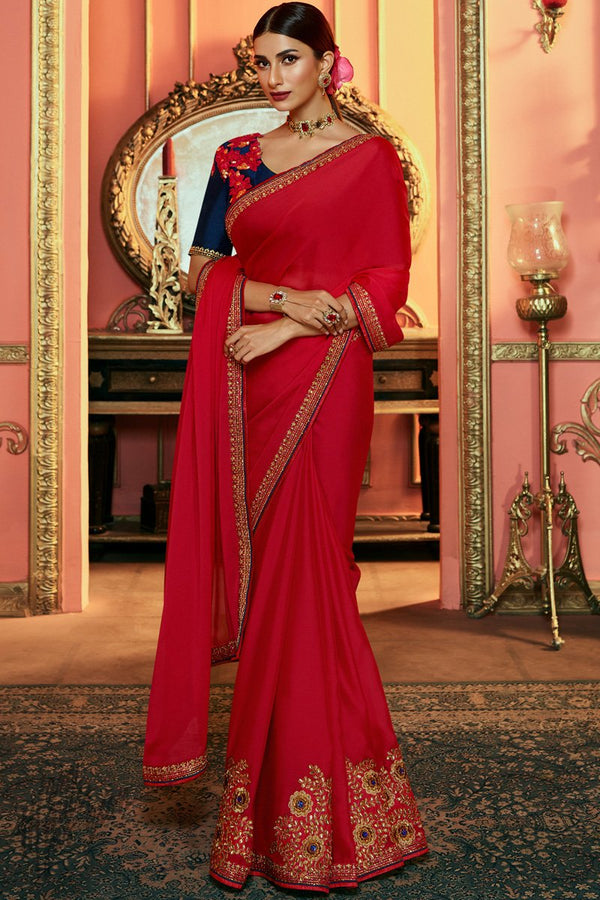 Red and Navy Blue Silk Saree