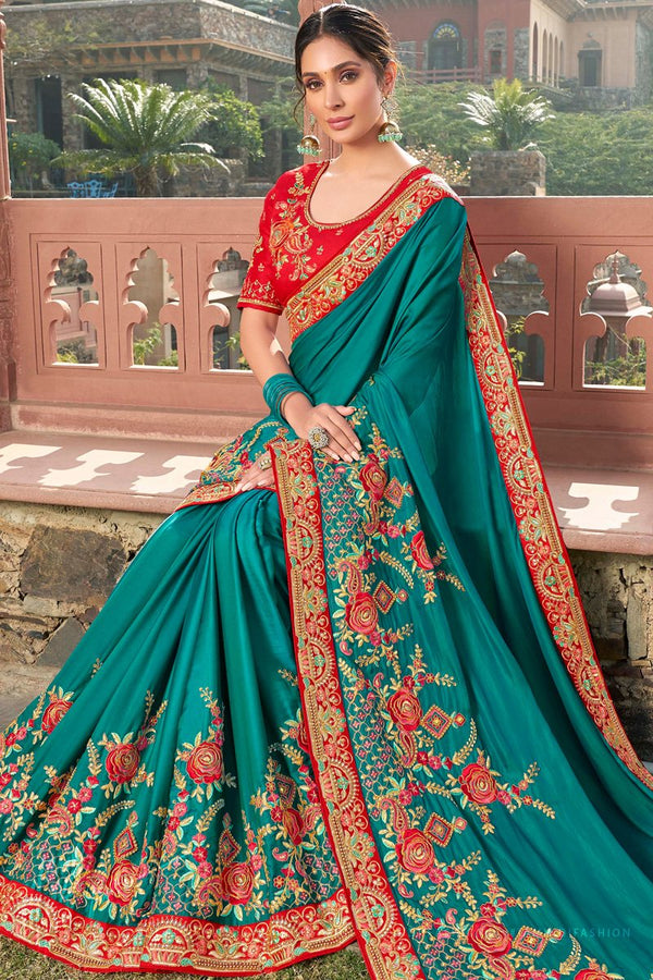 Teal and Red Satin Silk Embroidered Saree