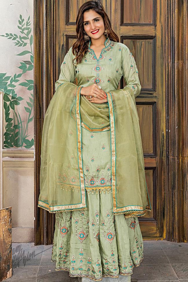 Olive Green Pashmina and Organza Silk Sharara Suit