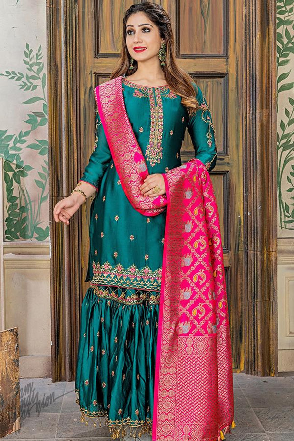 Peacock Green and Rani Satin and Banarasi Silk Sharara Suit