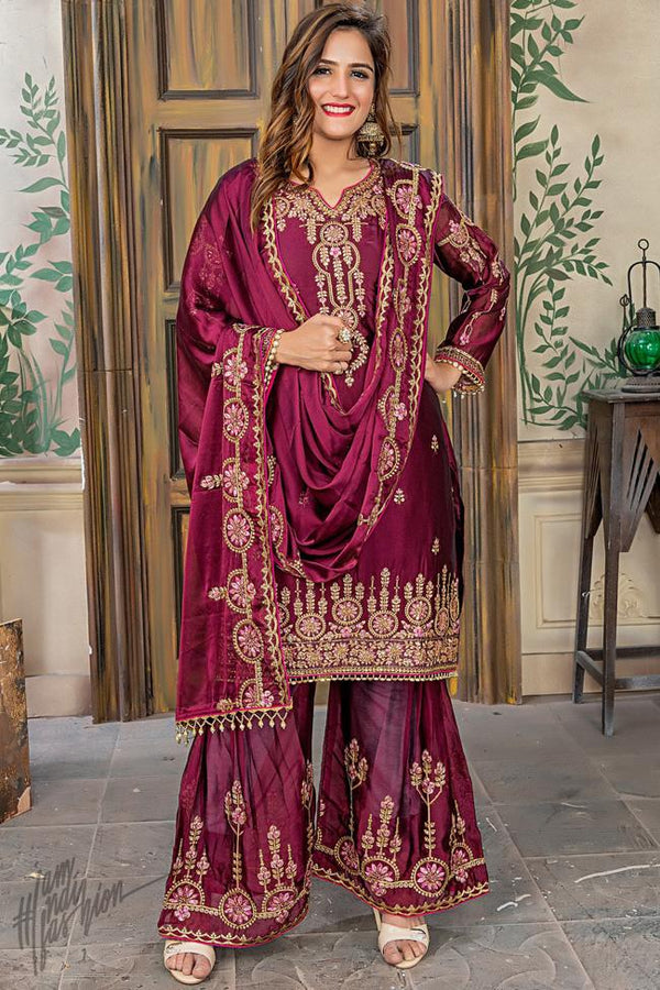 Wine Rangoli Silk A Line Suit