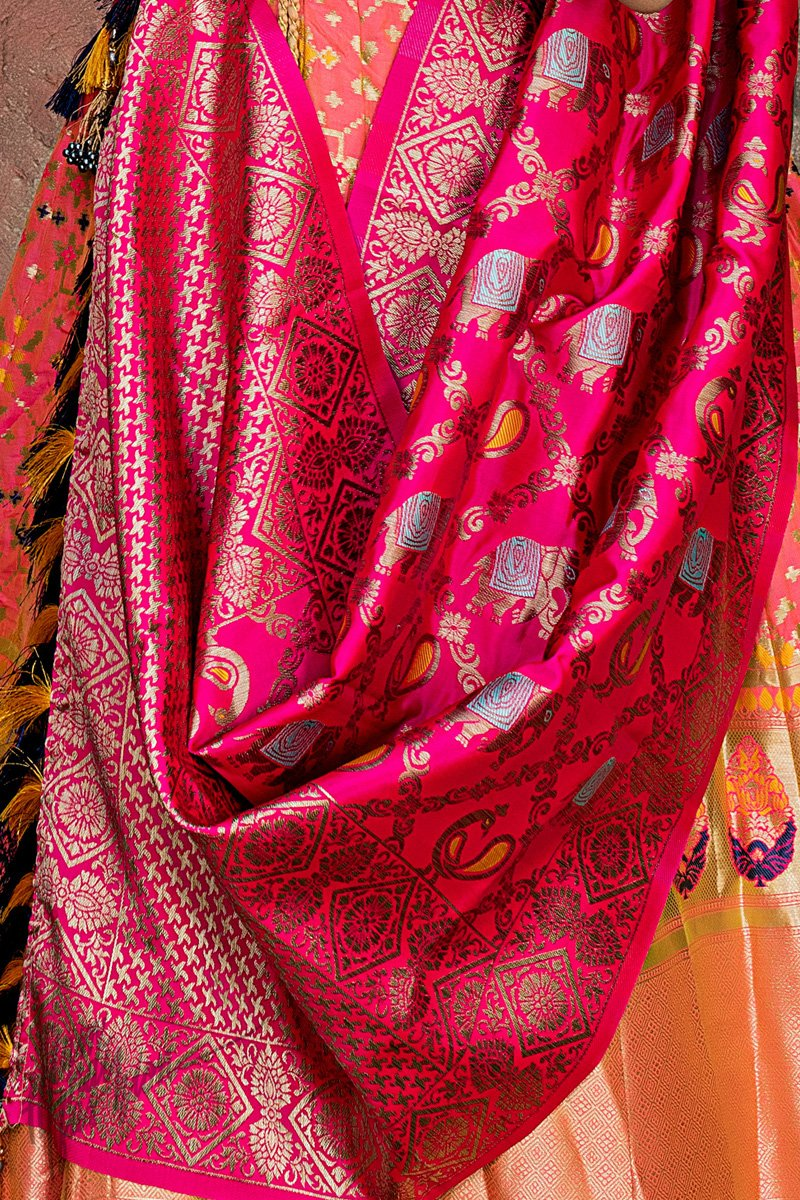 Yellow Orange Pink and Rani Banarasi Silk Lehenga Set