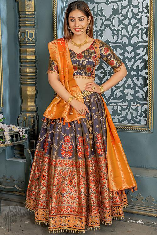 Teal Gray and Sunshine Orange Banarasi Silk Lehenga Set