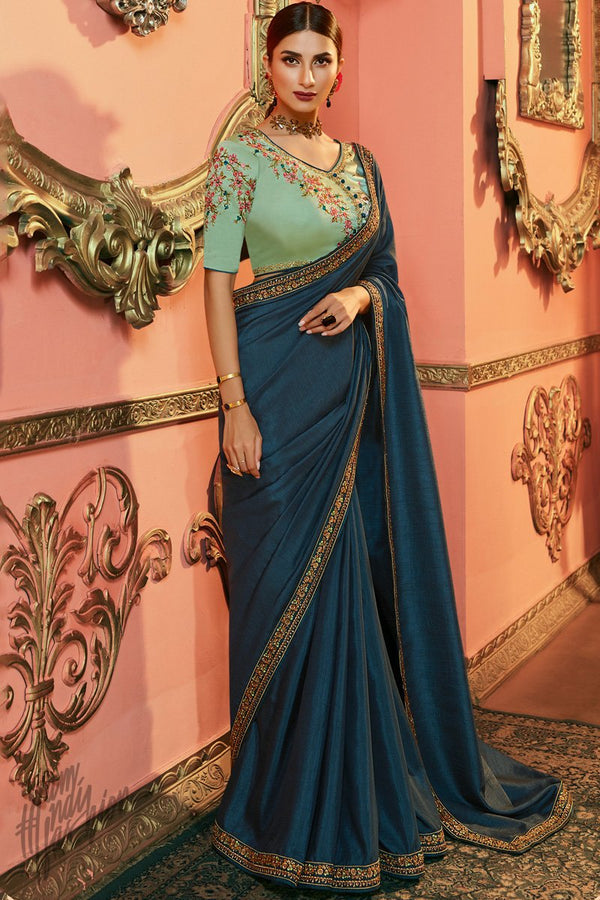 Cobalt Blue and Pista Green Silk Saree