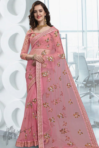 Onion Pink Net Saree