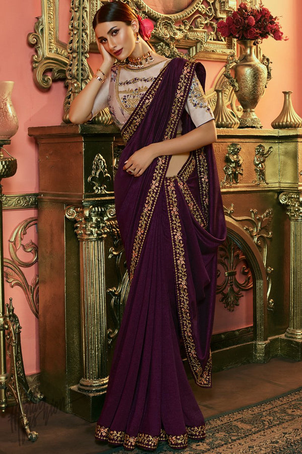 Wine and Light Peach Silk Saree