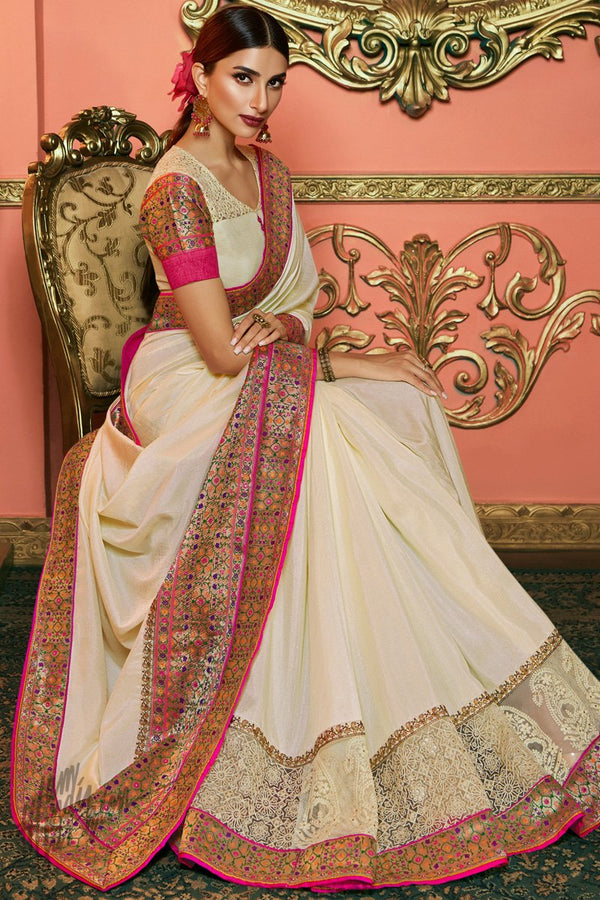 Cream Silk and Net Saree