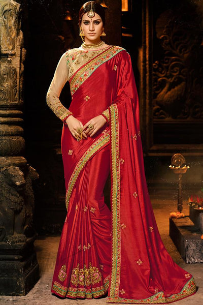 Indi Fashion Red and Chiku Chiffon and Net Saree
