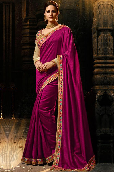 Indi Fashion Wine and Chiku Silk and Gotta Saree
