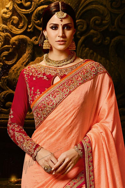 Indi Fashion Peach and Red Silk Saree