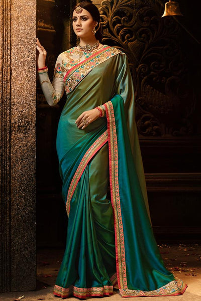 Indi Fashion Peacock Blue Green Ombre and Cream Silk Saree