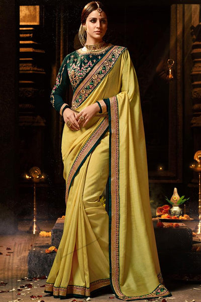 Indi Fashion Mustard Yellow and Bottle Green Silk Saree