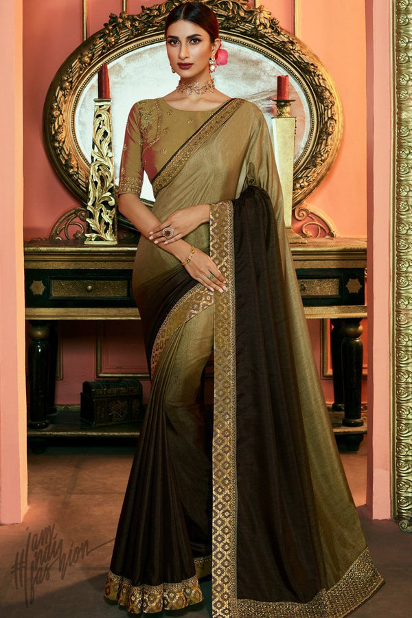 Mehandi Green Ombre Silk Saree