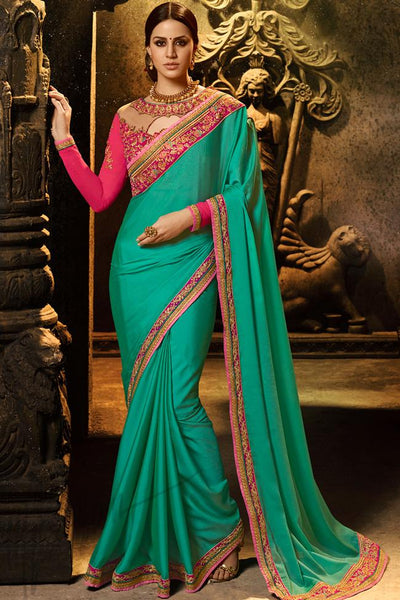 Indi Fashion Rama Green and Rani Pink Silk Saree