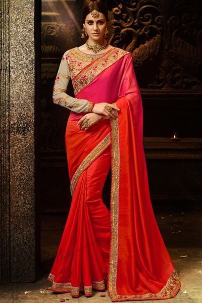 Indi Fashion Orange Rani Pink Ombre and Chiku Silk Saree