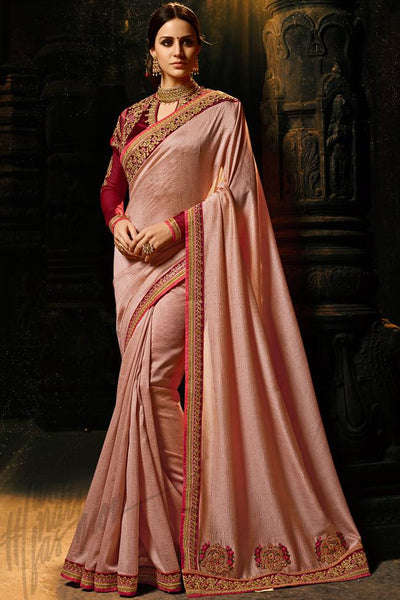 Indi Fashion Light Peach and Maroon Silk Saree