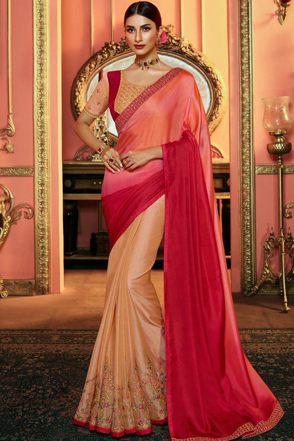 Peach and Rani Shaded Tissue Satin Silk Saree