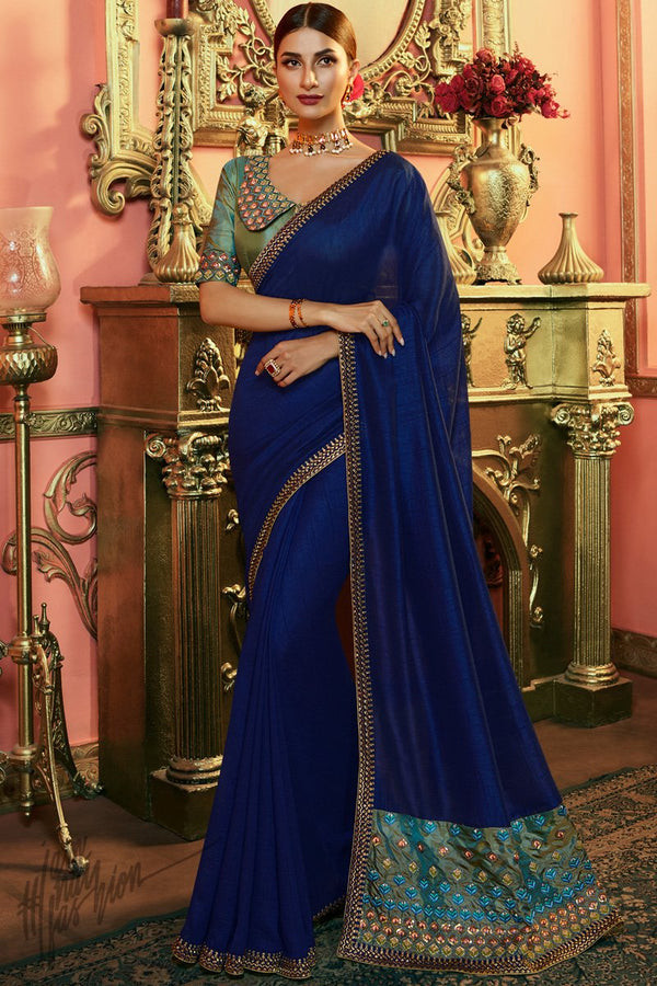 Navy Blue and Peacock Green Silk Saree