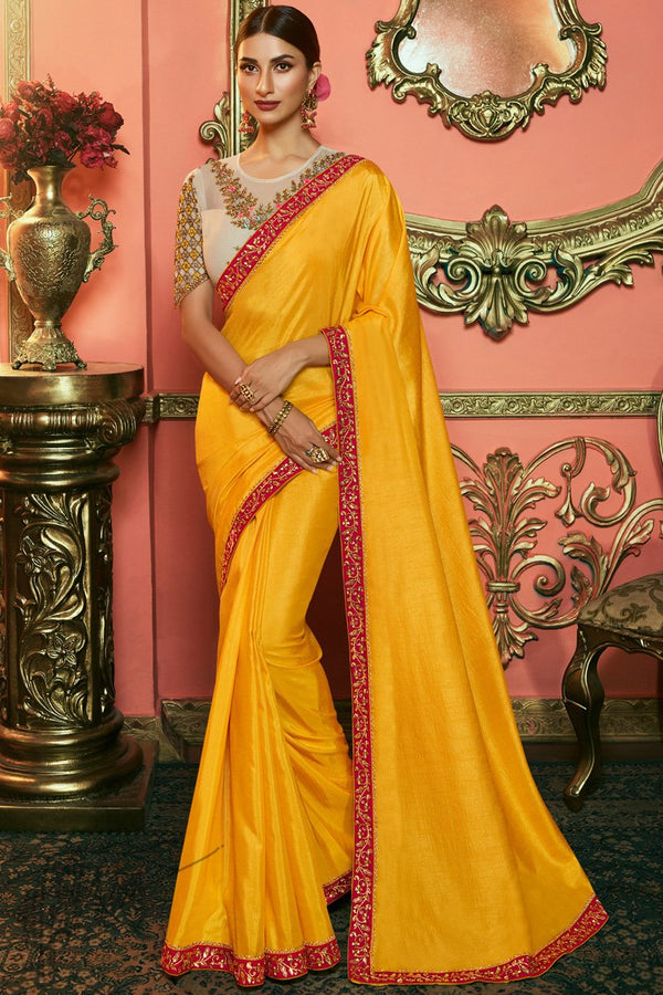 Mustard and Cream Silk and Net Saree