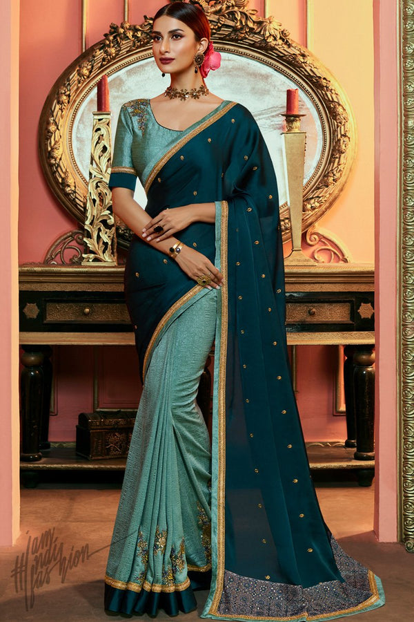 Sky and Cobalt Blue Satin Silk Saree