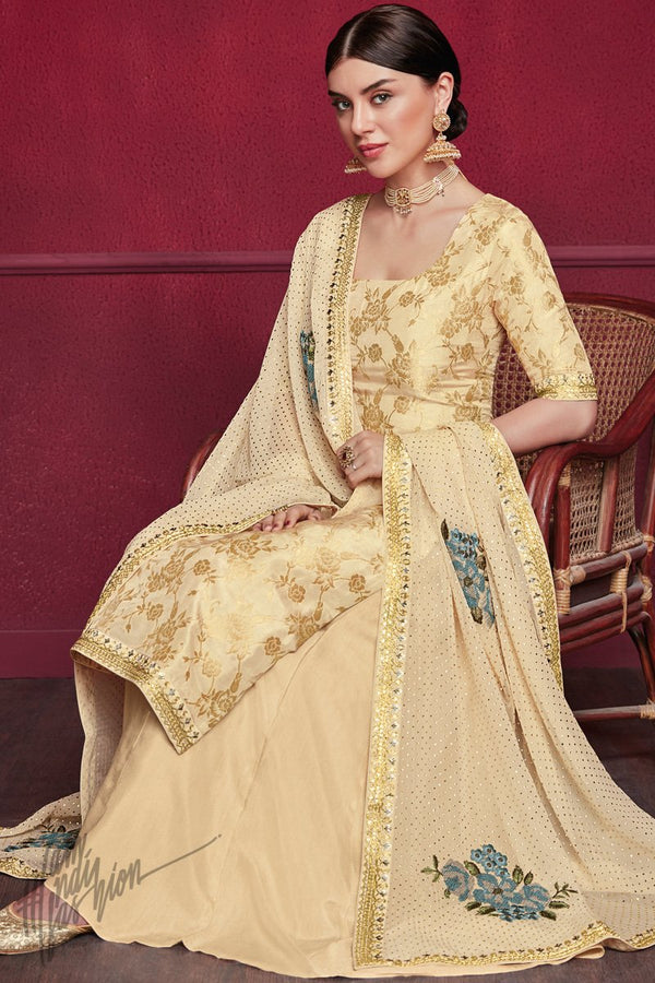 Butterscotch Yellow Pure Dola Jacquard Silk Palazzo Suit