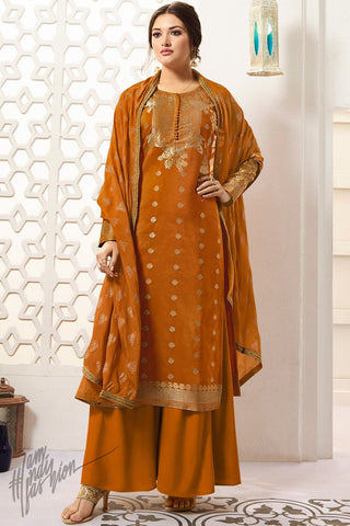 Bronze Orange Banarasi Silk Palazzo Suit