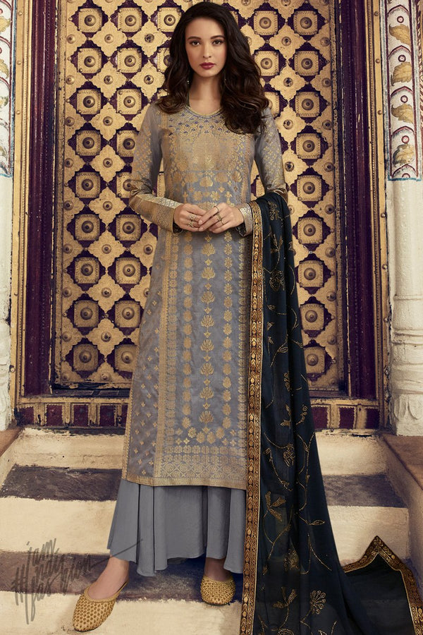 Gray and Midnight Blue Dola Silk Palazzo Suit