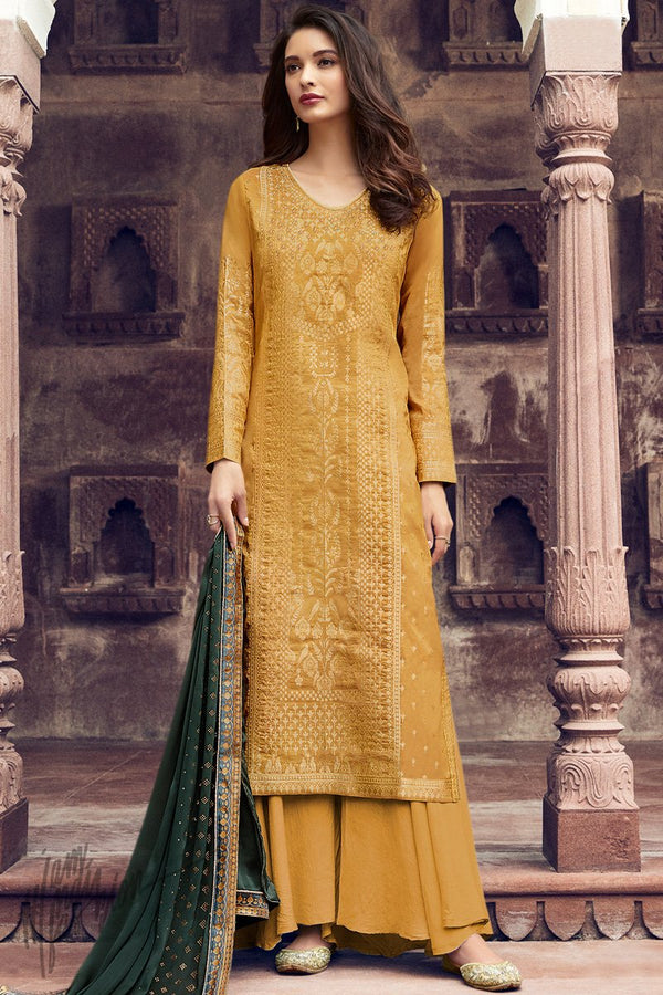 Mustard and Forest Green Dola Silk Palazzo Suit