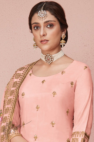 Baby Pink Dola Silk Palazzo Suit