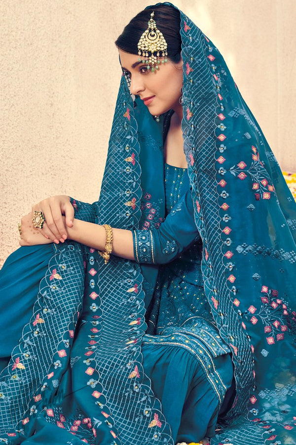 Royal Blue Pure Georgette Sharara Suit