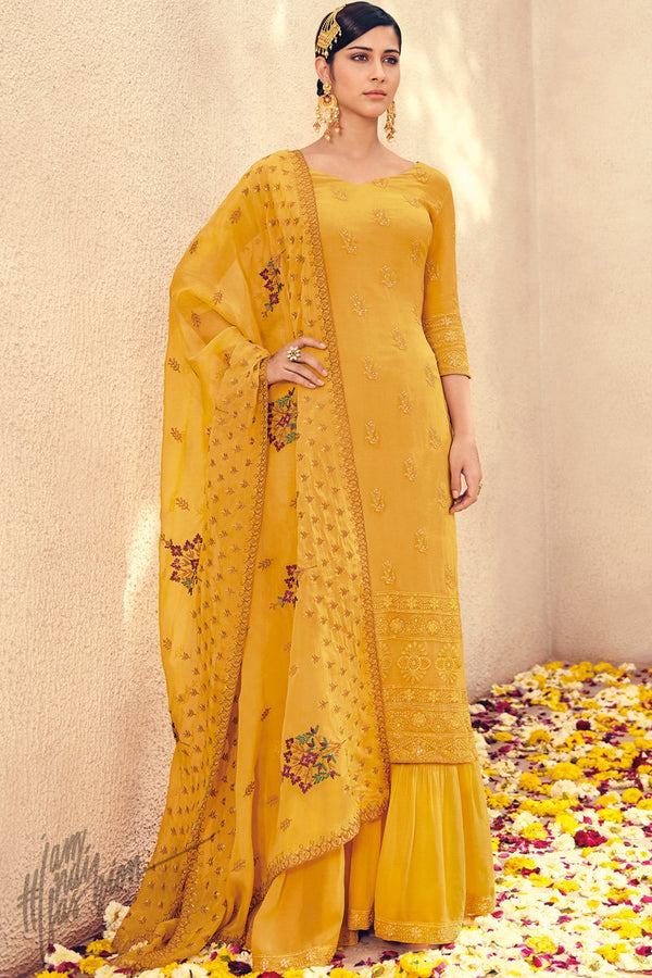 Honey Yellow Pure Georgette Sharara Suit