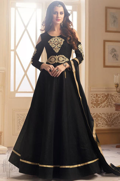 Indi Fashion Black Taffeta Silk Ankle Length Party Wear Suit