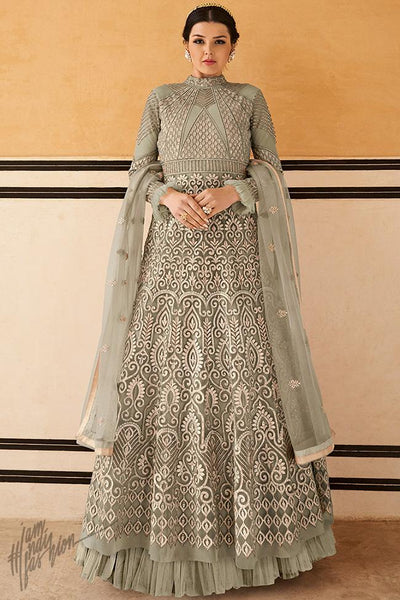 Light Sage Green Net Gown Style Anarkali Suit