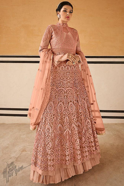 Peach Net Gown Style Anarkali Suit