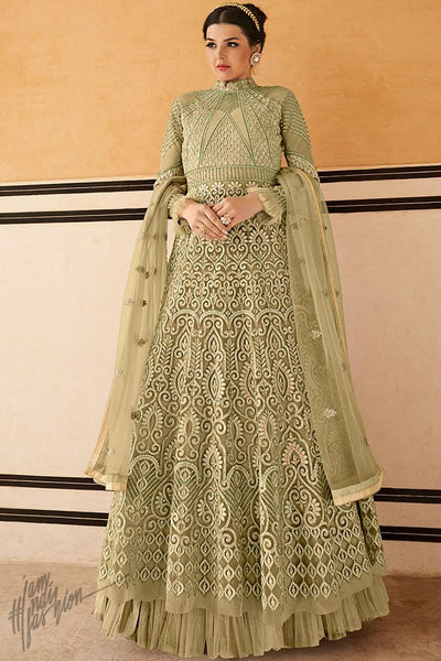 Pista Green Net Gown Style Anarkali Suit