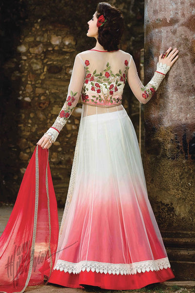 Indi Fashion White and Red Net Lehenga Style Party Wear Suit