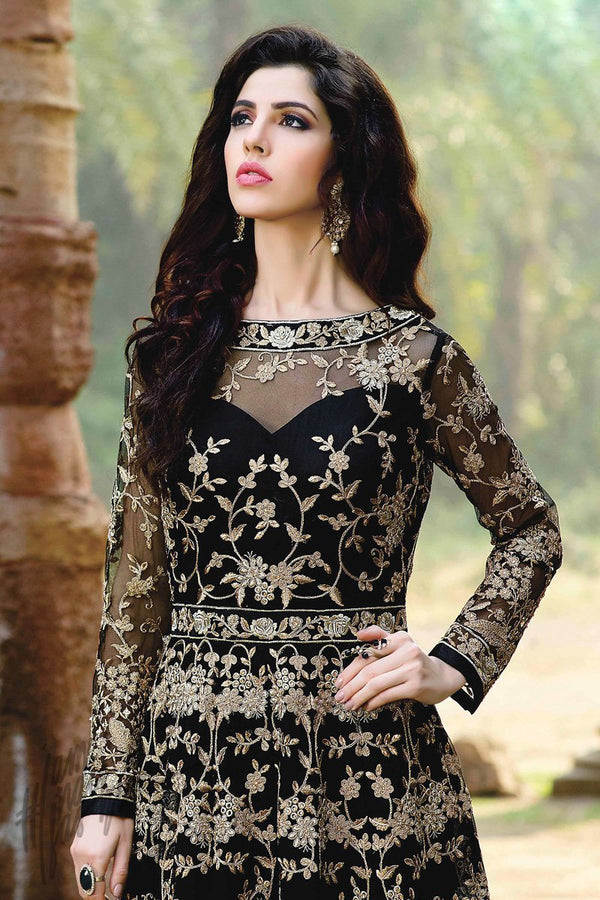 Indi Fashion Black and Gold Georgette Floor Length Party Wear Suit