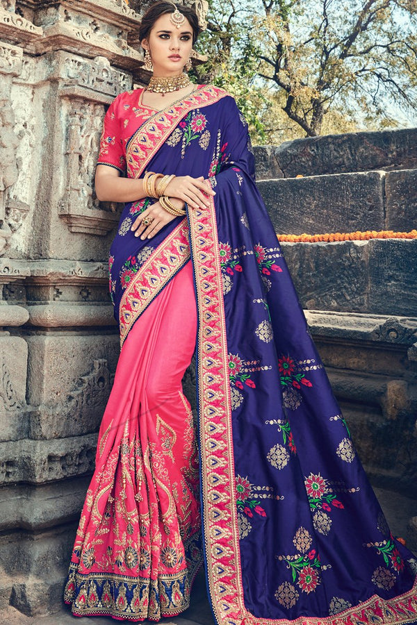 Indi Fashion Blue and Pink Half and Half Banarasi Silk Saree