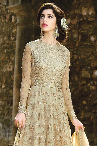 Indi Fashion Light Pista and Gold Net Floor Length Party Wear Suit