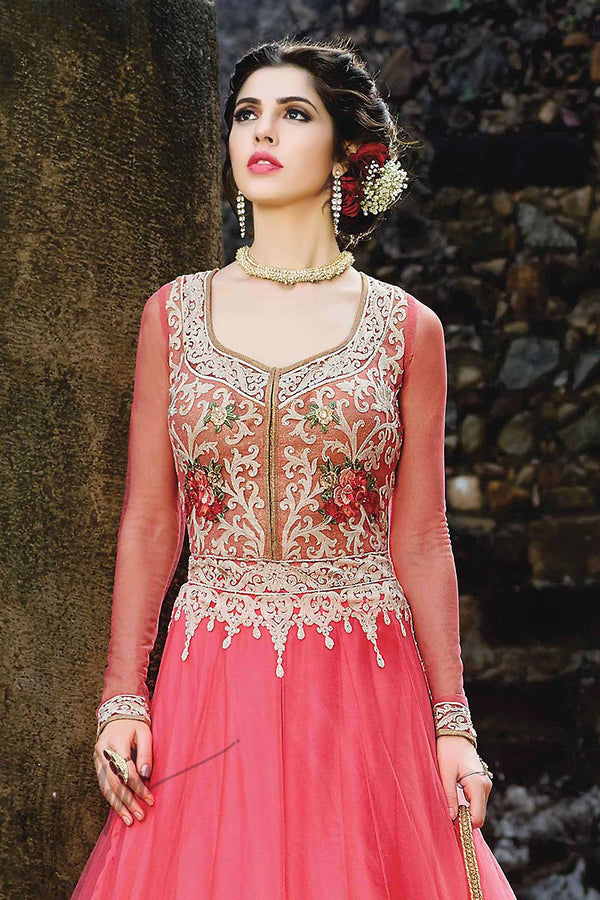 Indi Fashion Pink and White Net Lehenga Style Party Wear Suit
