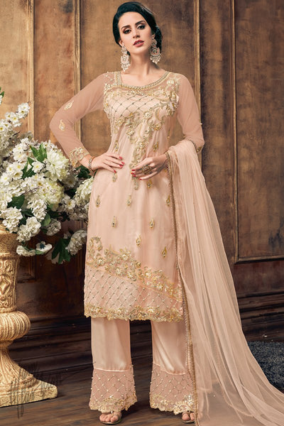 Light Peach Net Palazzo Suit