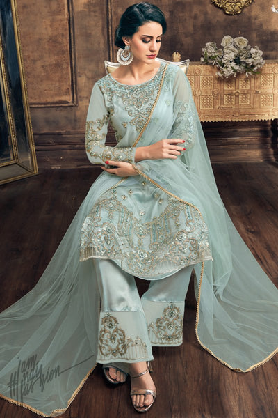 Light Blue Net Palazzo Suit