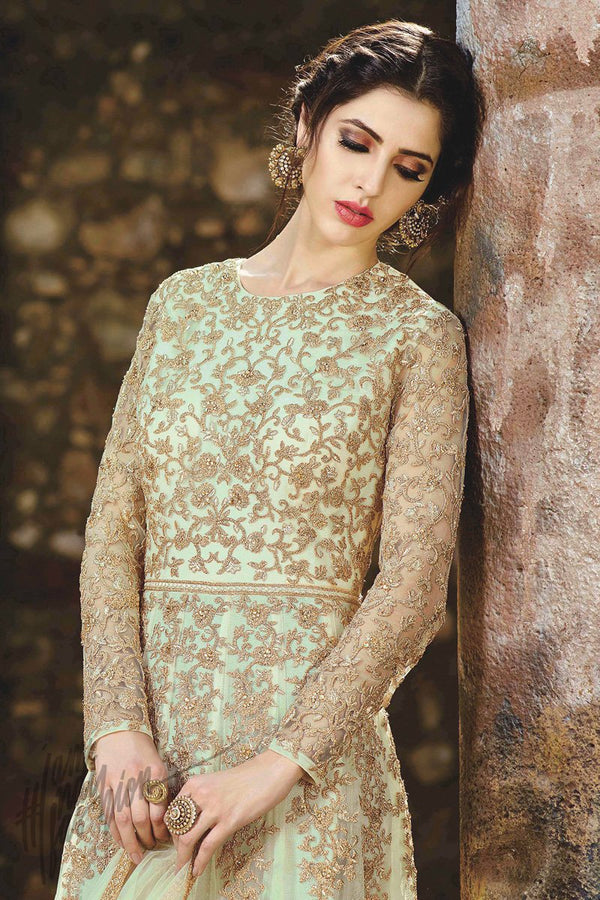 Indi Fashion Light Green and Gold Net Ankle Length Party wear Suit